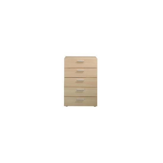 Havana 5 drawer Chest, Maple effect