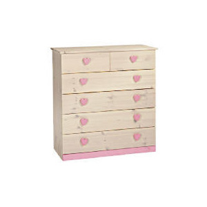 Photo of Lucy Hearts 4 + 2 Drawer Chest, White Wash Furniture