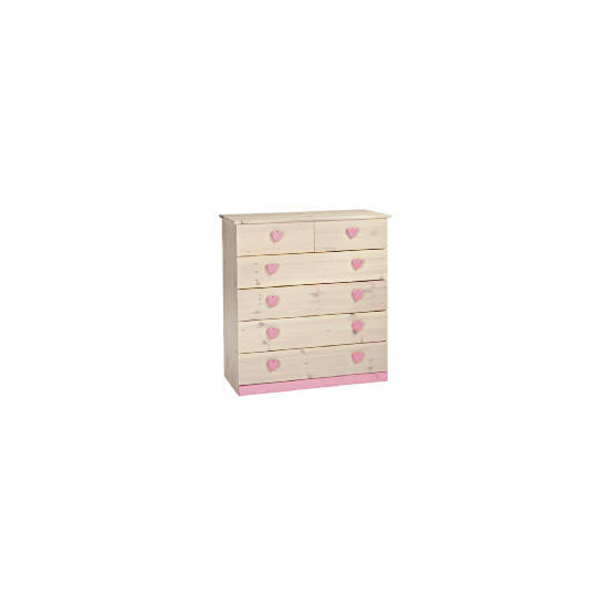 Lucy Hearts 4 + 2 Drawer Chest, White Wash