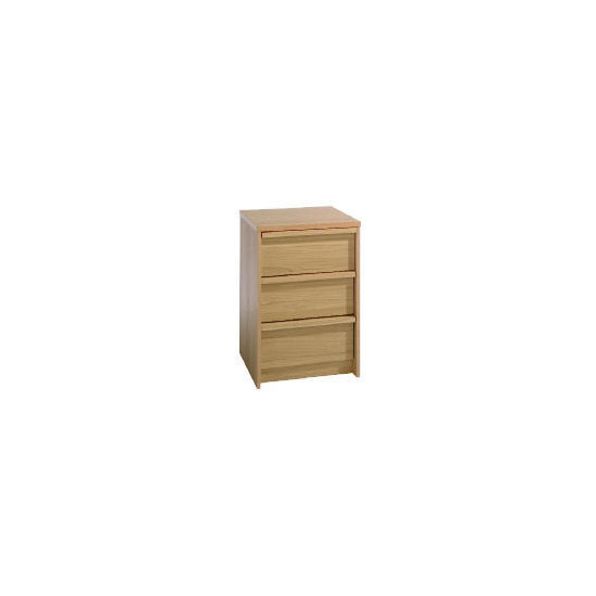 Santona 3 drawer Bedside Table, Oak effect