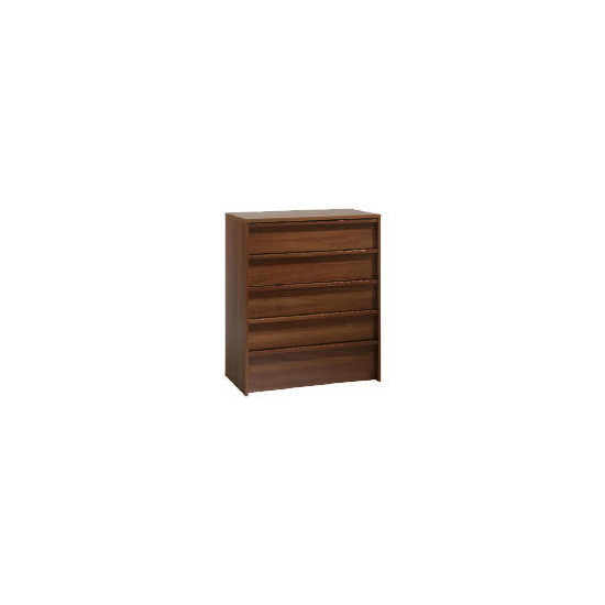 Santona 5 drawer Chest, Walnut effect