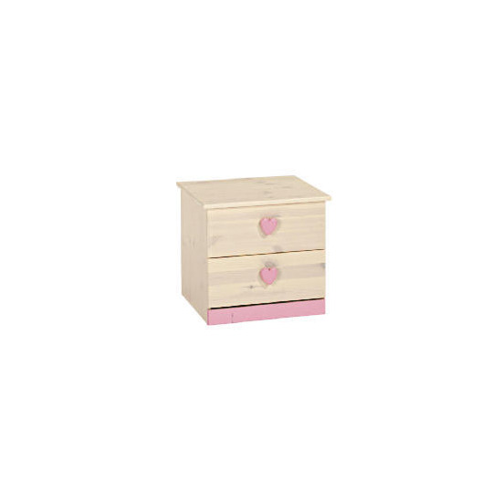 Lucy Hearts 2 Drawer Bedside Chest, White Wash