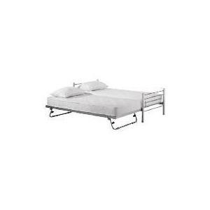 Photo of Bambari Metal Single Bedstead With Pull Out Guest Bed, Silver Bedding