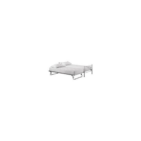 Bambari Metal Single Bedstead with Pull Out Guest Bed, Silver