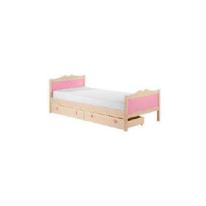 Photo of Lucy Hearts Single Bedstead, White Wash Pine Bedding
