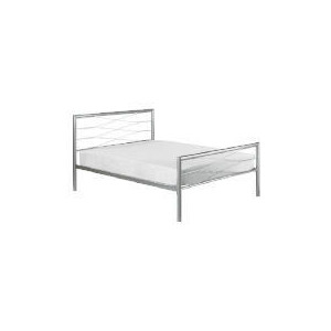 Photo of Lansing Double Metal Bedstead, Silver Bedding