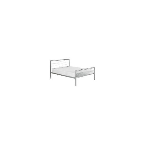 Lansing Double Metal Bedstead, Silver