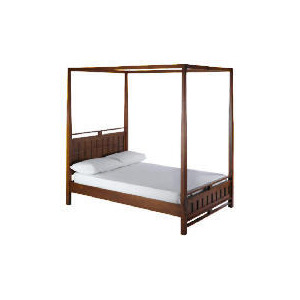 Photo of Bento Double 4 Poster Bedstead, Walnut Finish Bedding