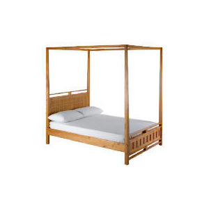 Photo of Bento Double 4 Poster Bedstead, Natural Bedding