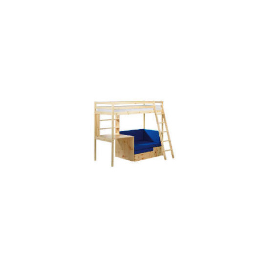 Pine High Sleeper and Office, Natural Laquered