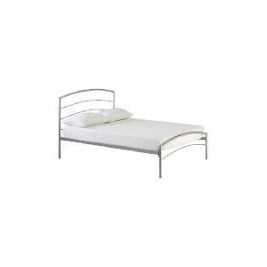 Photo of Santiago Metal King Bedstead, Silver Bedding