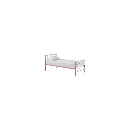 Clarinda Hearts Single Metal Bedstead, Pink