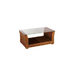 Photo of Guyana Light Rattan Coffee Table With Glass Top Furniture