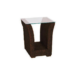 Photo of Guyana Dark Rattan Side Table With Glass Top Furniture