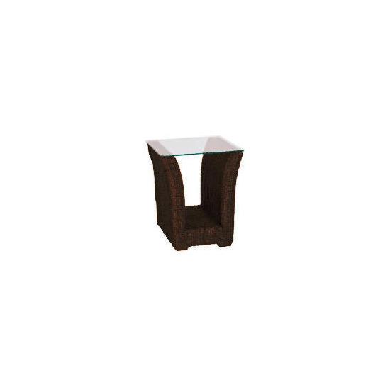 Guyana dark rattan Side table with Glass top