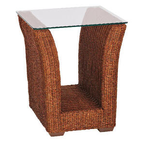 Photo of Guyana Light Rattan Side Table With Glass Top Furniture