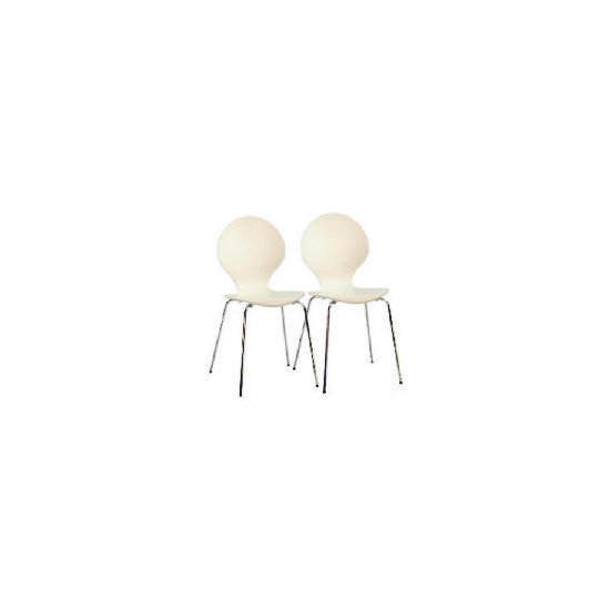 Bistro Pair of stacking chairs, White