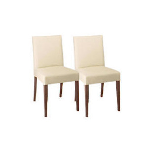 Photo of Sorrento Pair Of Low Backed Upholstered Chairs, Cream Leather With Walnut Stained Beech Legs Furniture