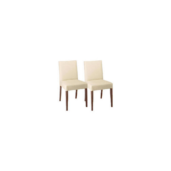 Sorrento Pair of low backed upholstered chairs, Cream leather with walnut stained beech legs