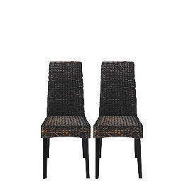 Saigon Pair of Hayacinth Weave Chairs, Dark Finish Reviews