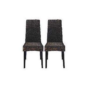 Photo of Saigon Pair Of Hayacinth Weave Chairs, Dark Finish Furniture
