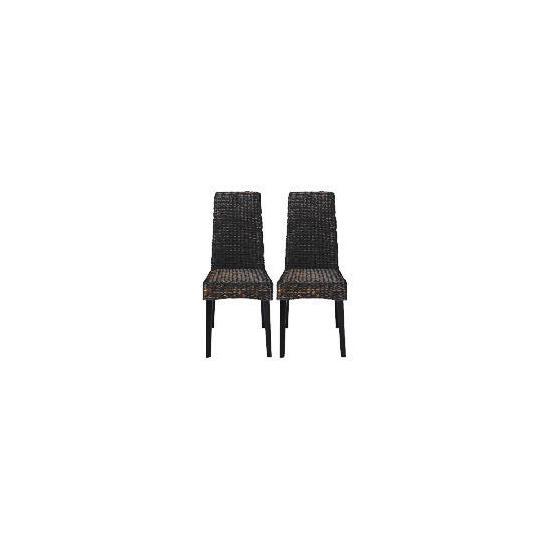 Saigon Pair of Hayacinth Weave Chairs, Dark Finish