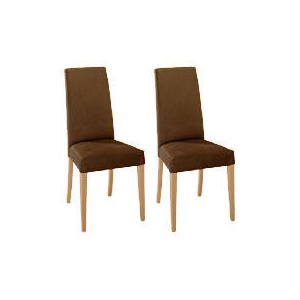 Photo of Lucca Pair Of High Backed Upholstered Chairs, Brown Faux Suede With Oak Legs Furniture