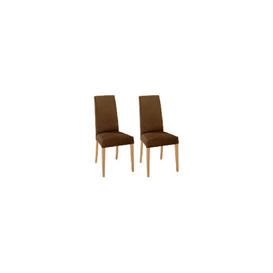 Lucca Pair of high backed upholstered chairs, Brown faux suede with oak legs