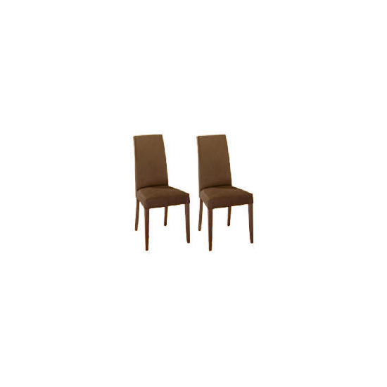 Lucca Pair of high backed upholstered chairs, Brown faux suede with walnut stained beech legs