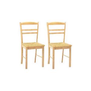 Photo of Manila Pair Of Rush Seat Chairs, Natural Rubberwood Furniture