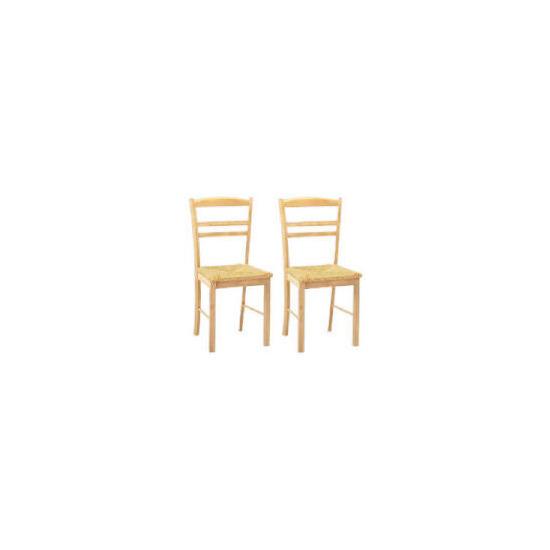 Manila Pair of Rush seat chairs, Natural Rubberwood