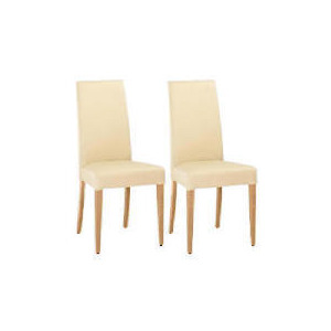 Photo of Lucca Pair Of High Backed Upholstered Chairs, Cream Leather With Oak Legs Furniture