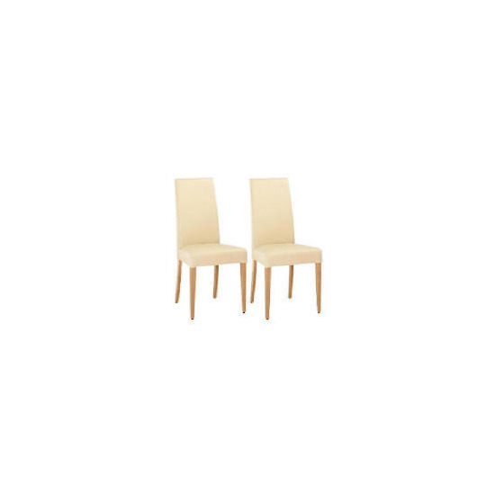 Lucca Pair of high backed upholstered chairs, Cream leather with oak legs