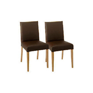 Photo of Sorrento Pair Of Low Backed Upholstered Chairs, Brown Leather With Oak Legs Furniture