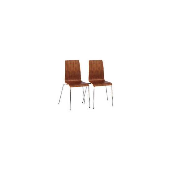 Padova Pair of plywood stacking chairs, Walnut veneer