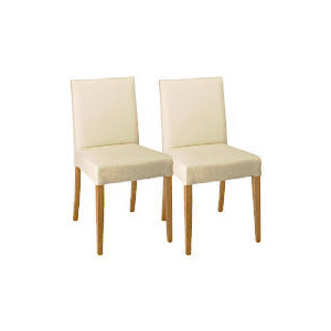 Photo of Sorrento Pair Of Low Backed Upholstered Chairs, Cream Leather With Oak Legs Furniture