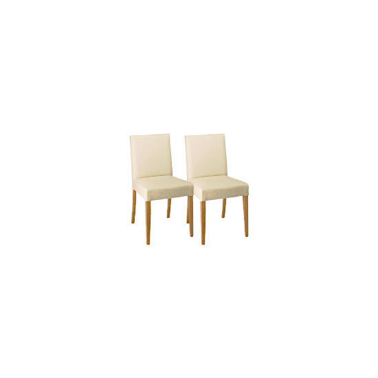 Sorrento Pair of low backed upholstered chairs, Cream leather with oak legs