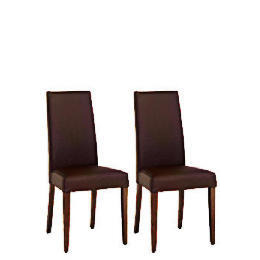 Pair of Lucca Chairs - Brown Leather With Walnut Legs Reviews