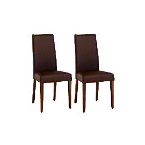 Photo of Pair Of Lucca Chairs - Brown Leather With Walnut Legs Furniture