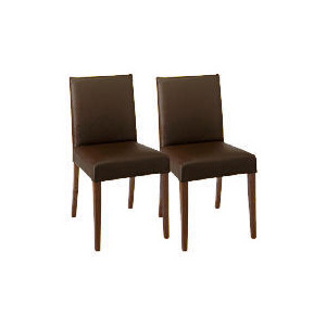 Photo of Sorrento Pair Of Low Backed Upholstered Chairs, Brown Leather With Walnut Stained Beech Legs Furniture