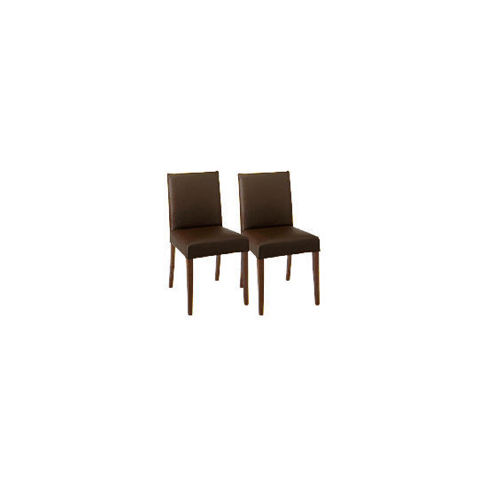 Sorrento Pair of low backed upholstered chairs, Brown leather with walnut stained beech legs