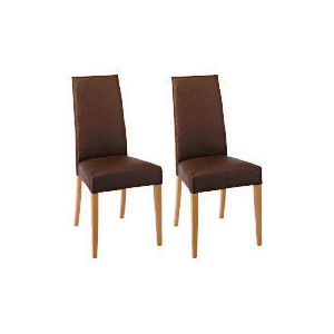 Photo of Lucca Pair Of High Backed Upholstered Chairs, Brown Leather With Oak Legs Furniture