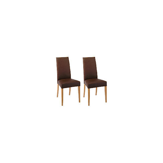 Lucca Pair of high backed upholstered chairs, Brown leather with oak legs