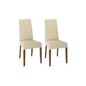Photo of Lucca Pair Of High Backed Upholstered Chairs, Cream Leather With Walnut Stained Beech Legs Furniture