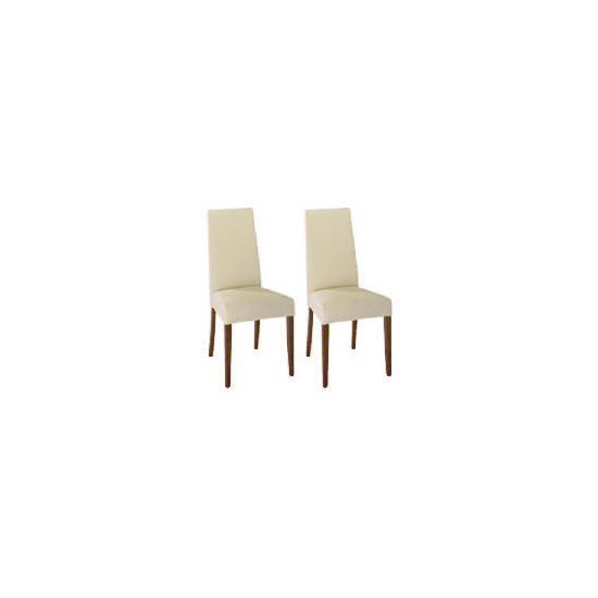 Lucca Pair of high backed upholstered chairs, Cream leather with walnut stained beech legs