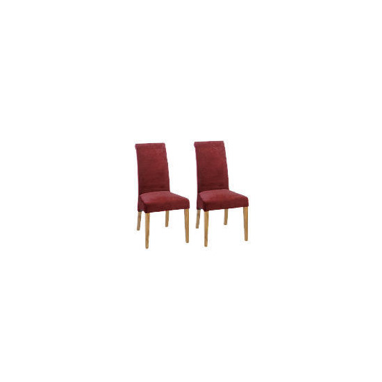 Florence Pair of Chairs, Oak & Burgundy