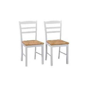 Photo of Manila Pair Of Rush Seat Chairs, White Furniture