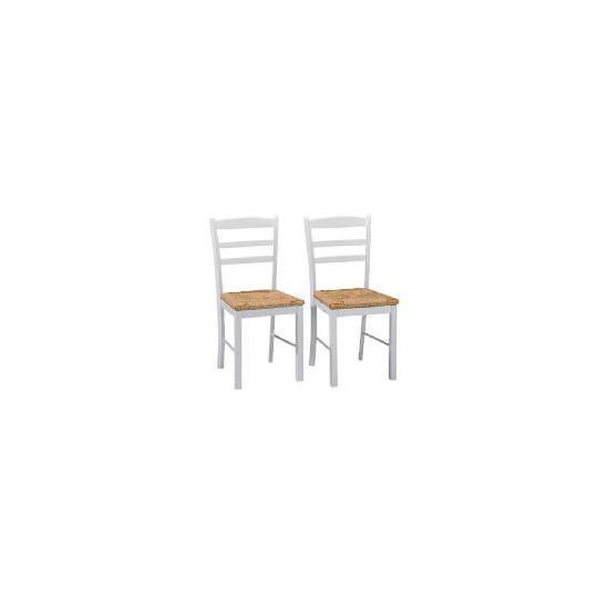 Manila Pair Of Rush Seat Chairs, White