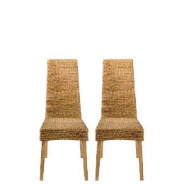 Saigon Pair of Hayacinth Weave Chairs, Natural Finish Reviews