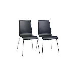 Photo of Milano Pair Of Leather Dining Chairs, Black Furniture